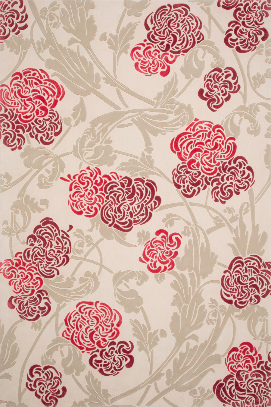 Overhead image of floral Chrysanthemum rug in pink and red colour