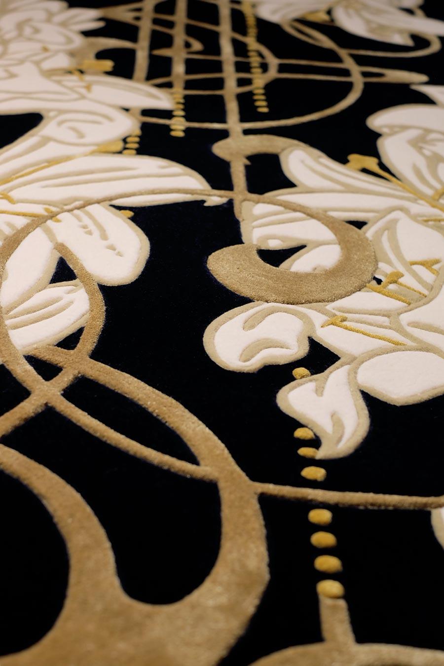 Detailed image of art nouveau Lily Nouveau rug by Kingdom Home in gold colour