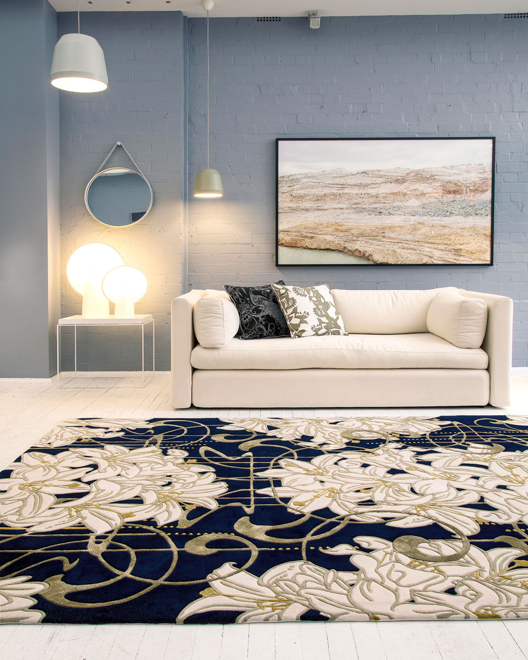 Living room image of art nouveau Lily Nouveau rug by Kingdom Home in gold colour