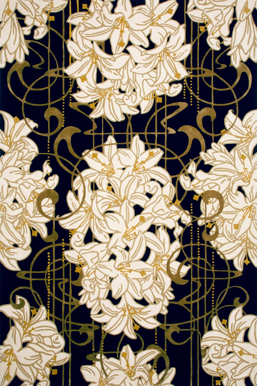 Overhead image of art nouveau Lily Nouveau rug by Kingdom Home in gold colour