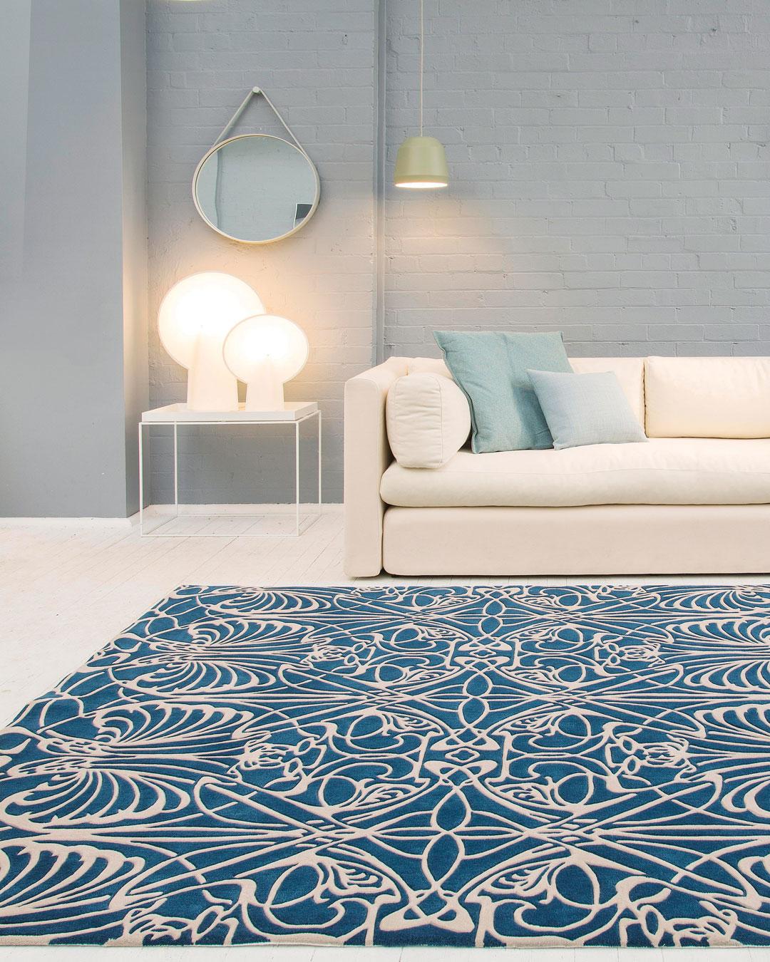 Styled image of art nouveau Metropolitan rug in blue colour