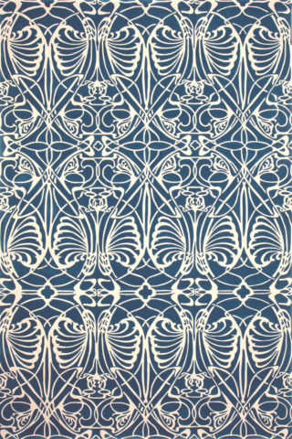 Overhead image of art nouveau Metropolitan rug in blue colour