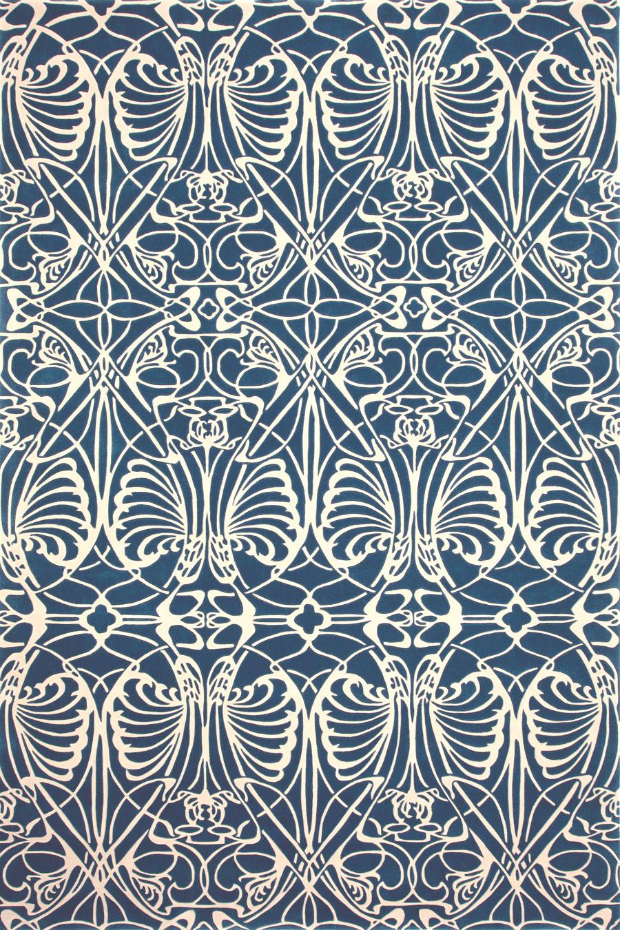 Overhead image of art nouveau Metropolitan rug in blue colour