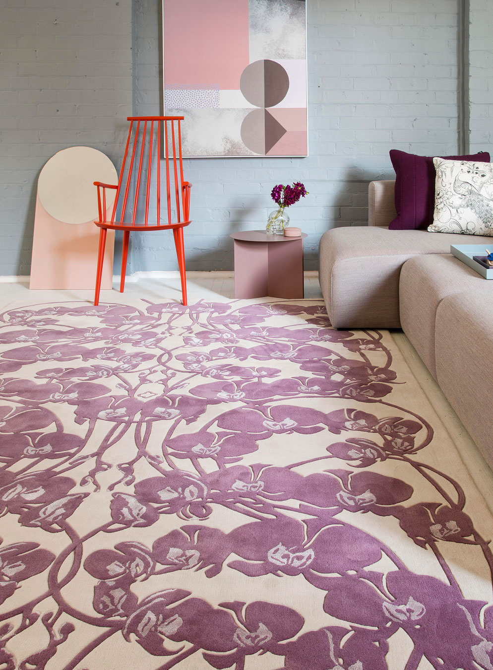 Living room image of art nouveau Mucha Bloom rug by Kingdom Home in purple colour