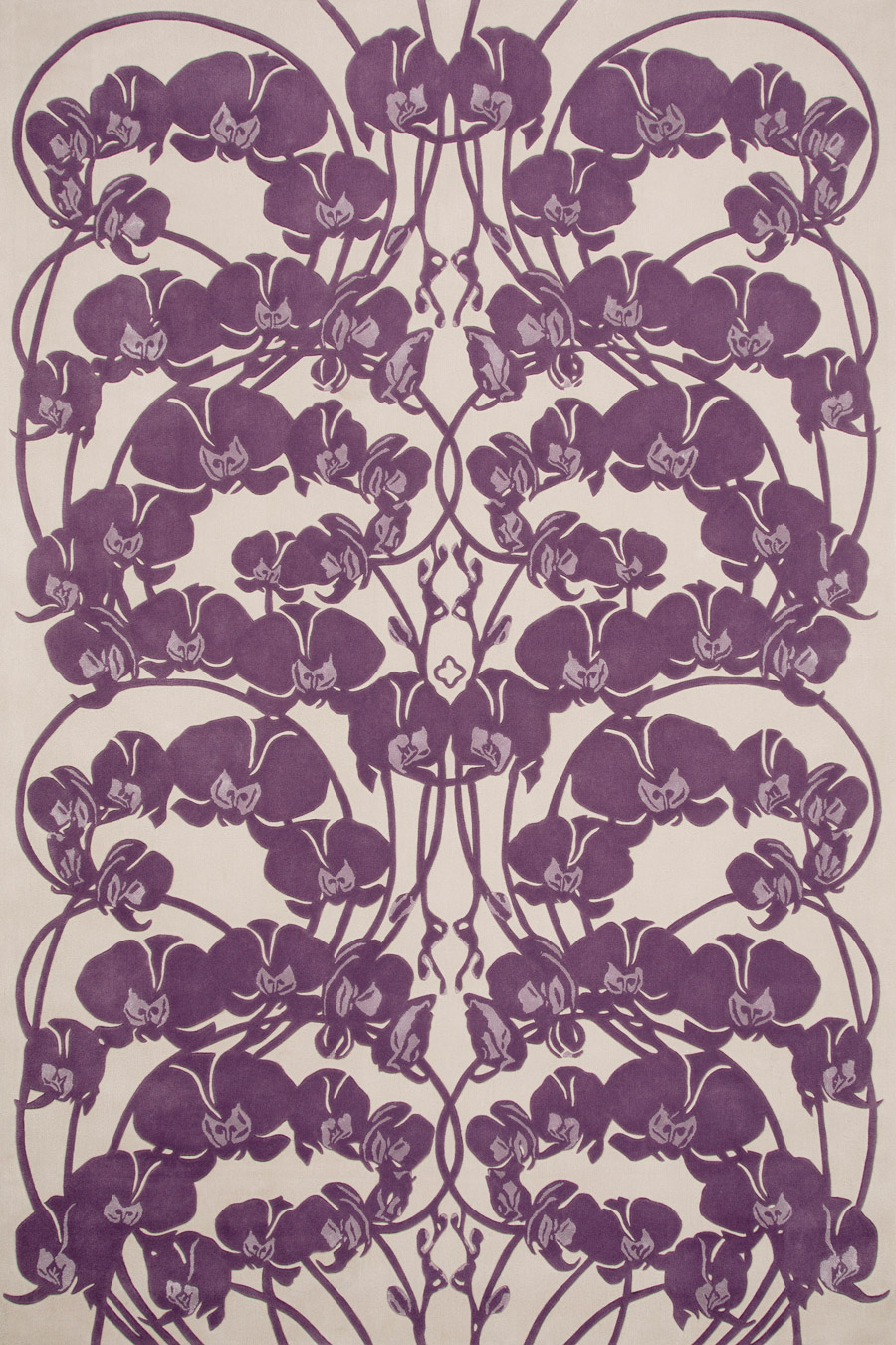Overhead image of art nouveau Mucha Bloom rug by Kingdom Home in purple colour