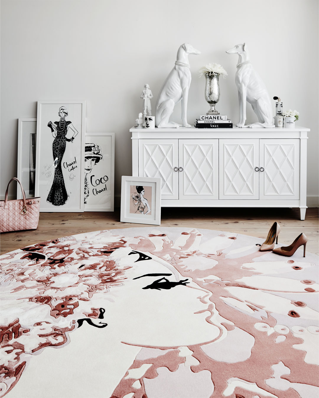 Styled image of The Emperors Pearls rug by Megan Hess in pink colour