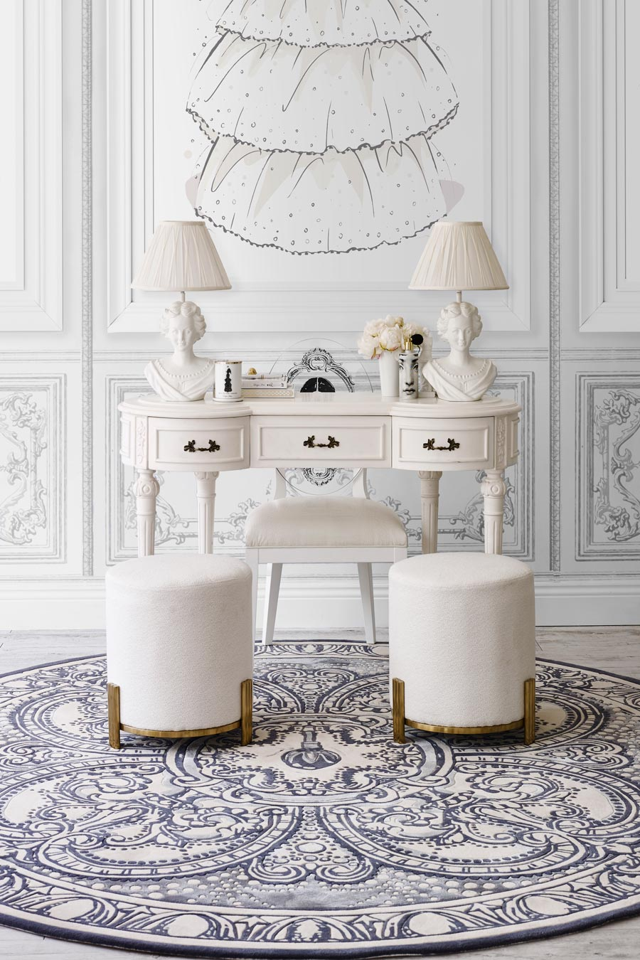 Styled image of round The Palace Ballroom rug by Megan Hess in blue colour