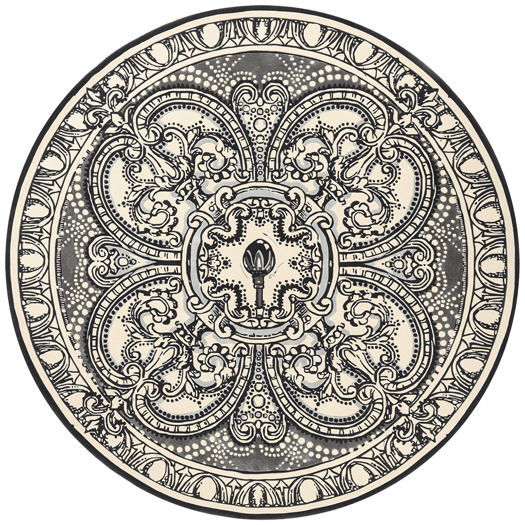Overhead image of round The Palace Ballroom rug by Megan Hess in blue colour