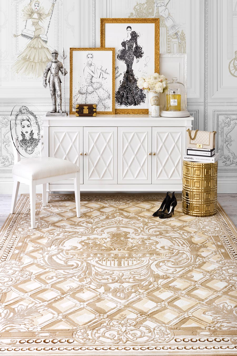 Styled image of classic The Palace Gates rug by Megan Hess in gold colour