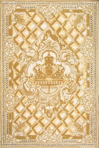 Overhead image of classic The Palace Gates rug by Megan Hess in gold colour