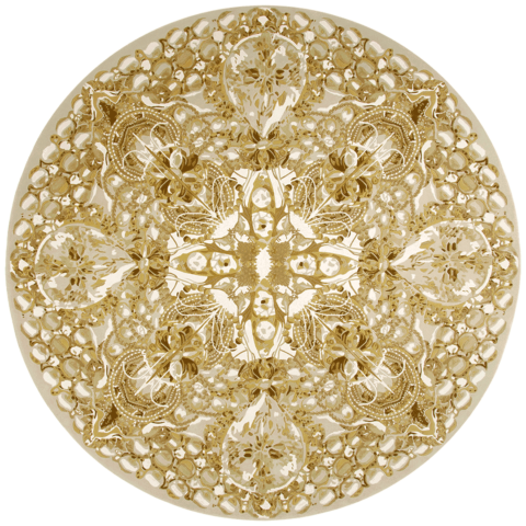Overhead image of The Palazzo Jewels rug by Megan Hess in gold colour