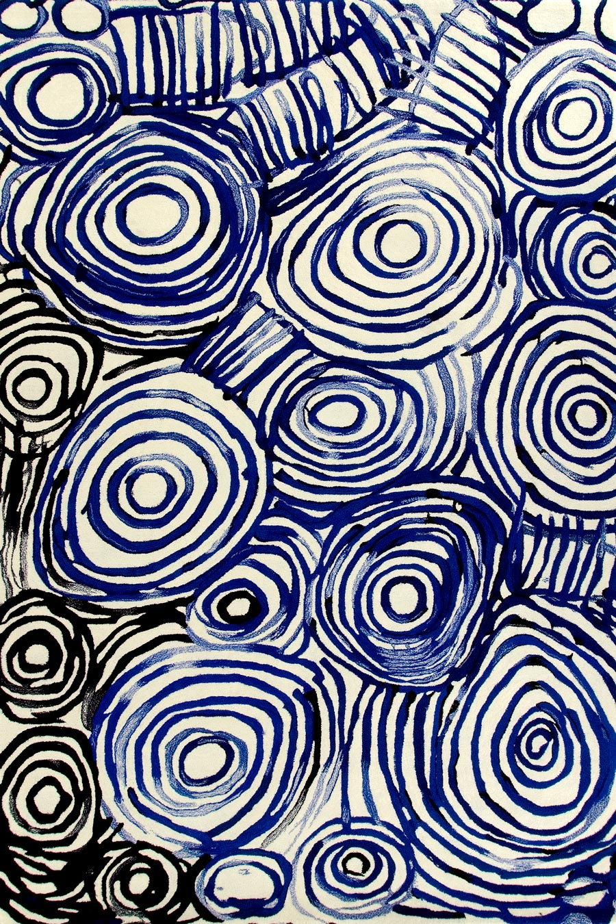 Overhead image of indigenous Camp Sites rug by Minnie Pwerle in blue colour