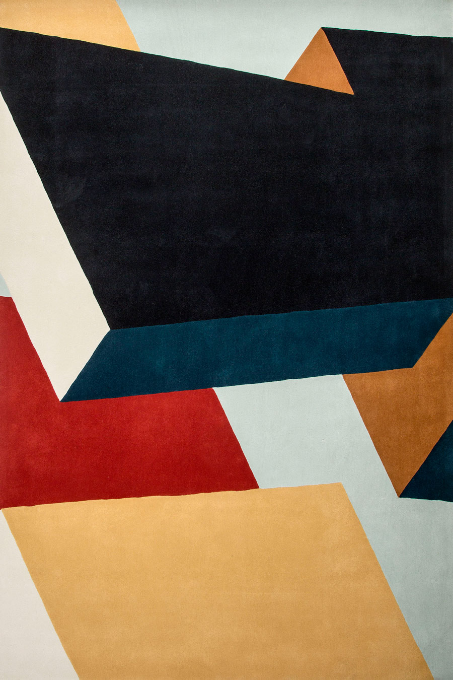 Overhead image of geometric Dovetail Halving rug by Mr Frag