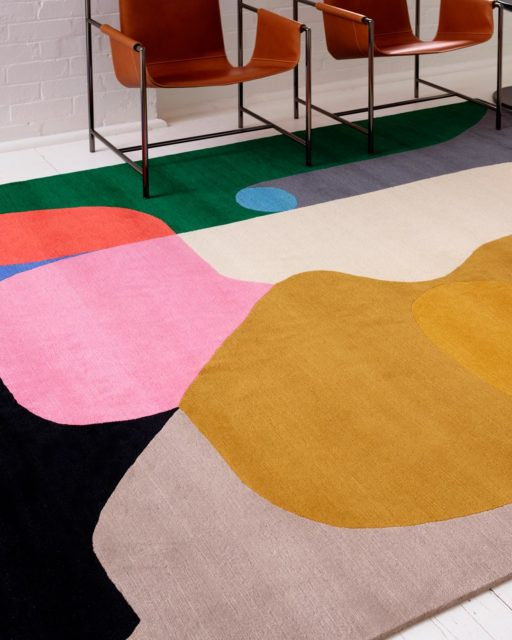 Close up view of modern Crowded Room rug by Stephen Ormandy