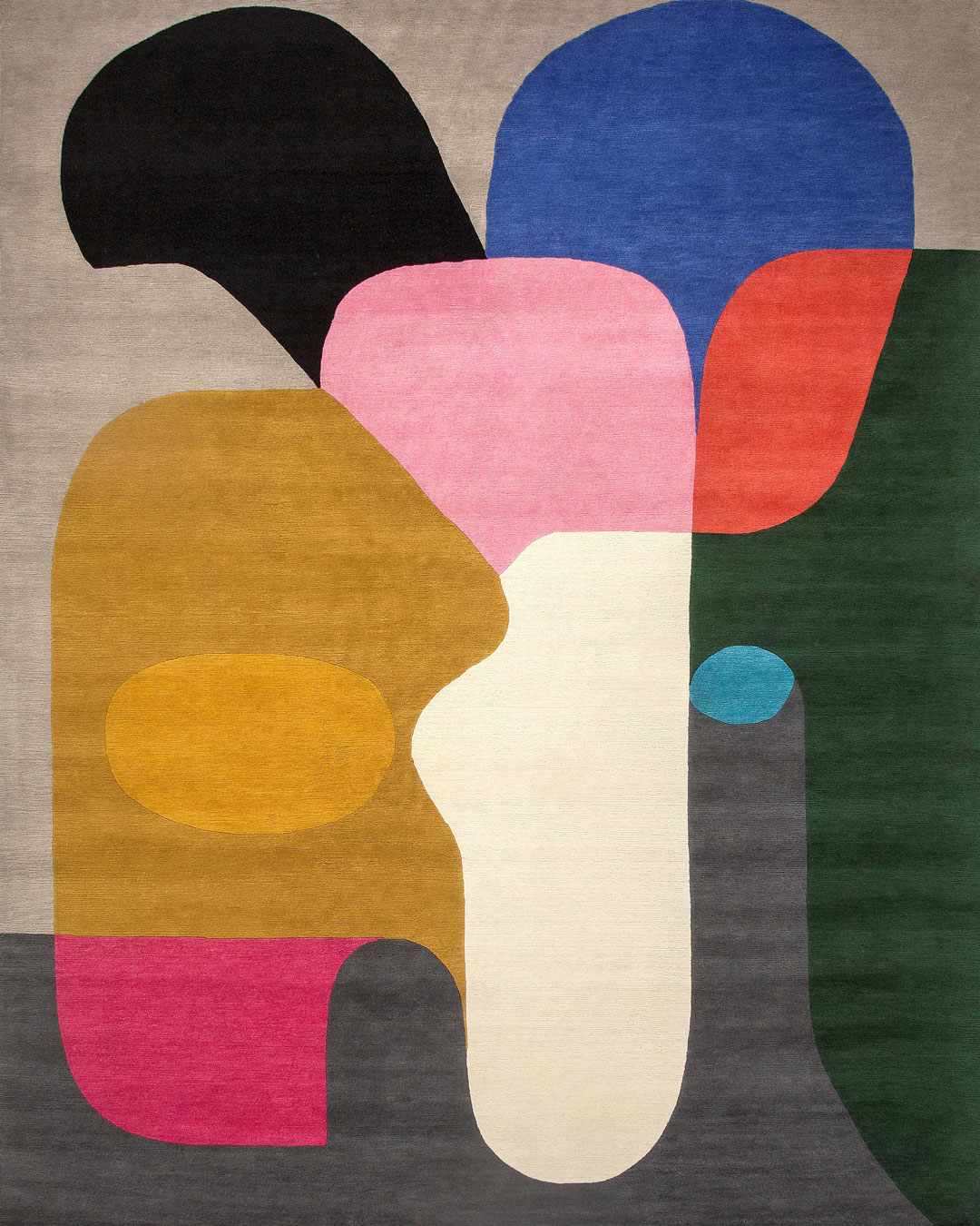 Overhead view of modern Crowded Room rug by Stephen Ormandy