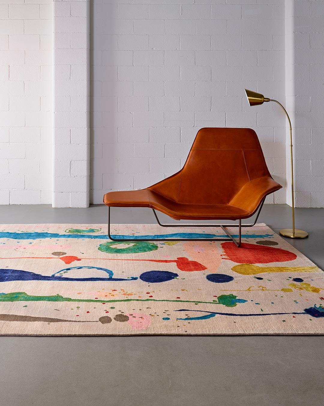 Living room image of painterly Dream Garden rug by Louise Olsen