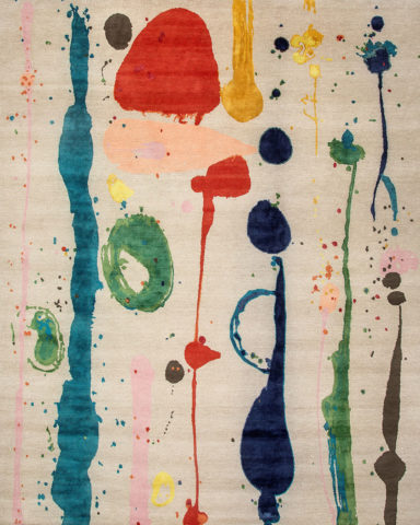 Overhead image of painterly Dream Garden rug by Louise Olsen