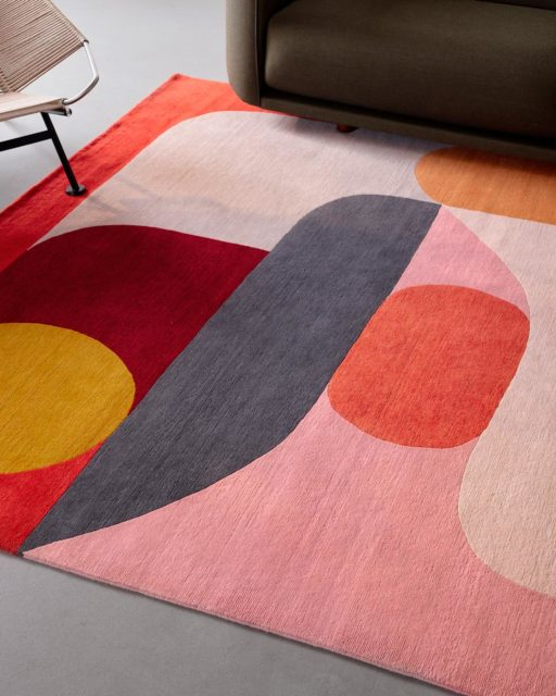 Close up image of modern Flamingo rug by Stephen Ormandy