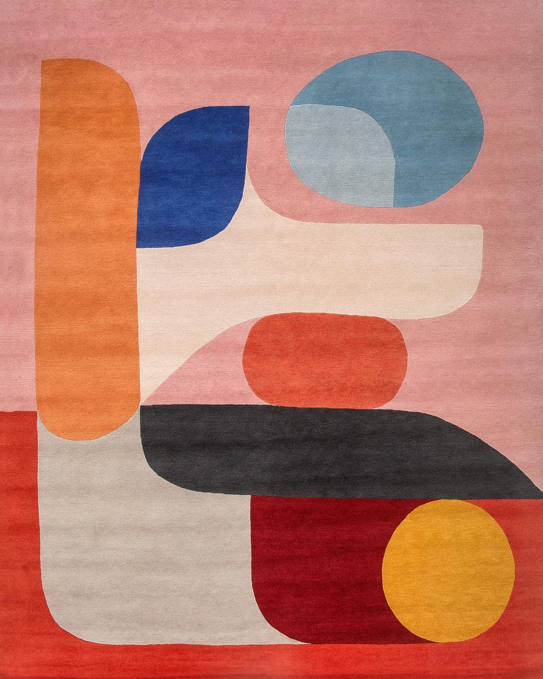 Overhead image of modern Flamingo rug by Stephen Ormandy