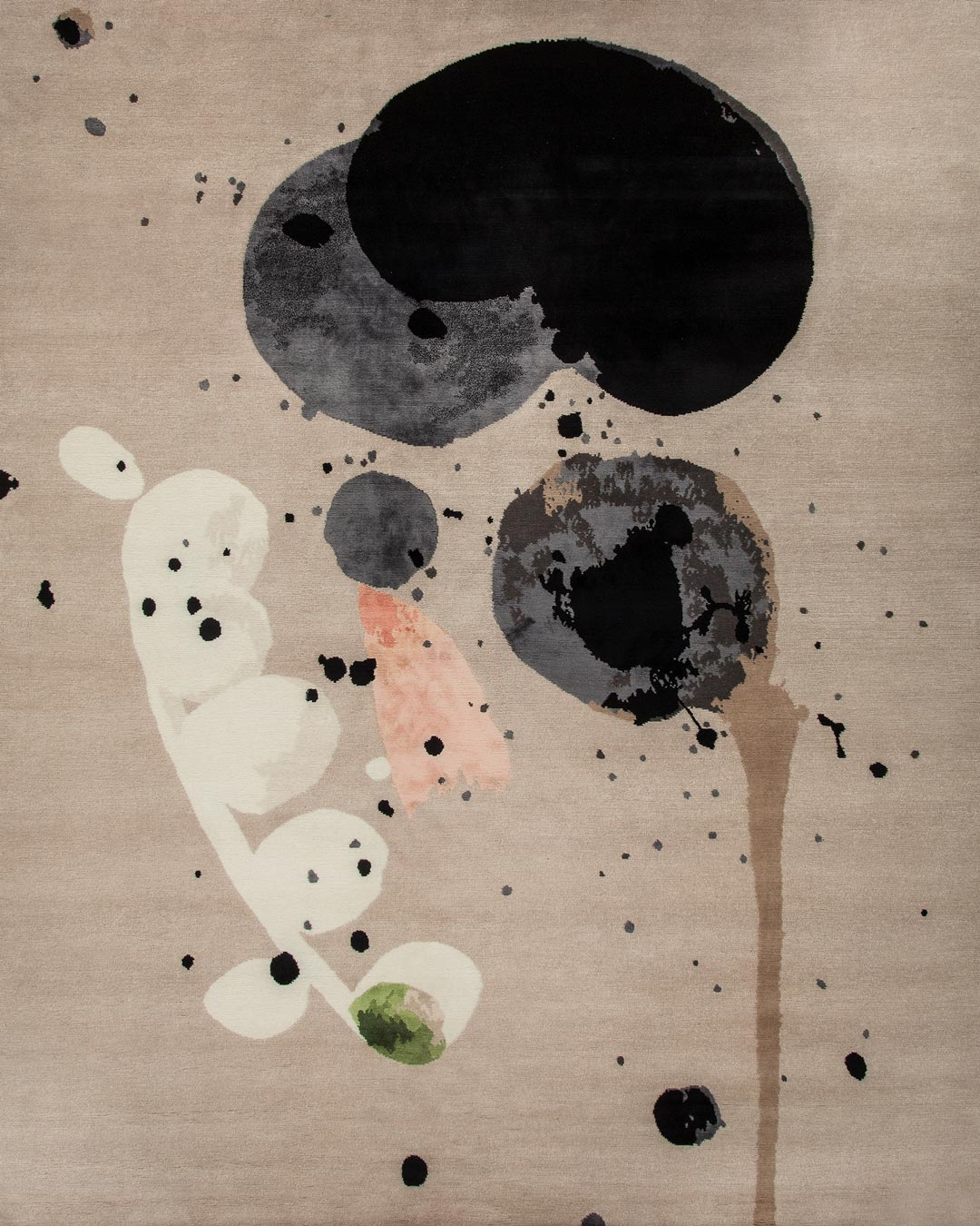 Overhead image of painterly Seed Pod rug by Louise Olsen in grey colour