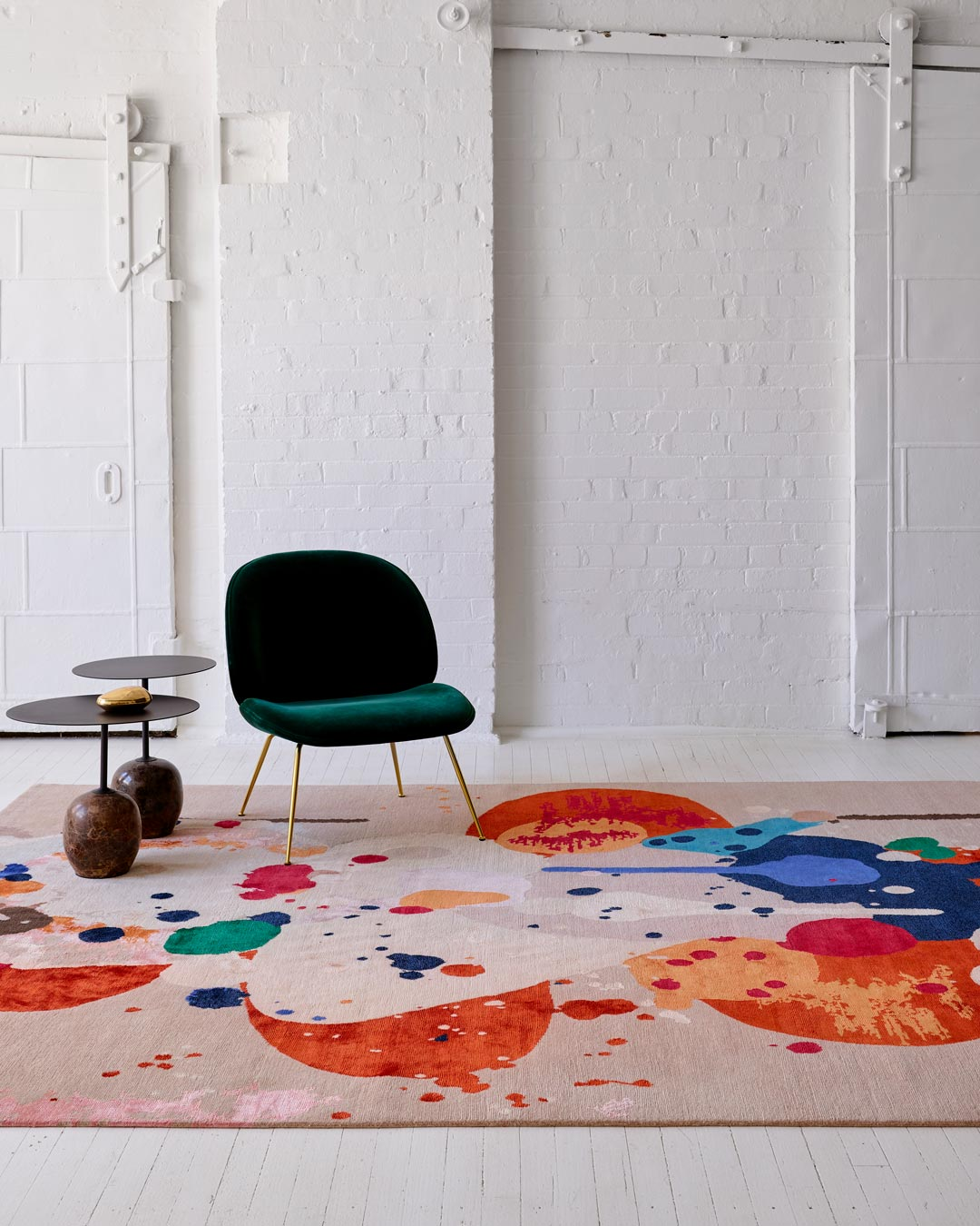 Styled image of painterly Springtime rug by Louise Olsen