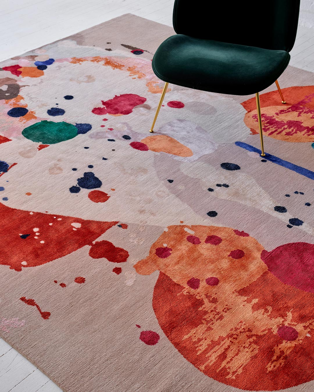 Close up image of painterly Springtime rug by Louise Olsen