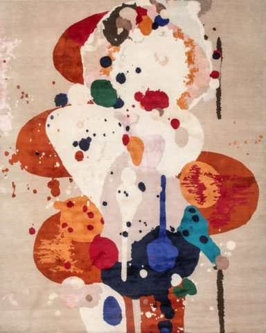 Overhead image of painterly Springtime rug by Louise Olsen