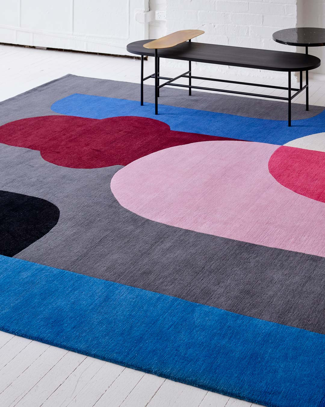 Close up image of geometric Twilight rug by Stephen Ormandy