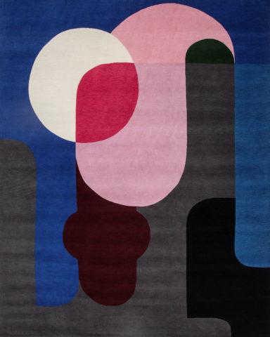 Overhead image of geometric Twilight rug by Stephen Ormandy