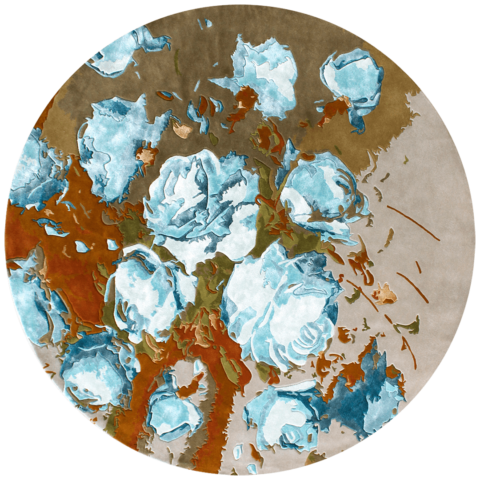 Overhead view of round floral Mavis rug by Petrina Turner