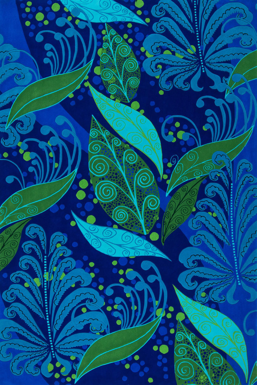 Overhead image of floral Night Garden rug by Romance Was Born in green and blue colour