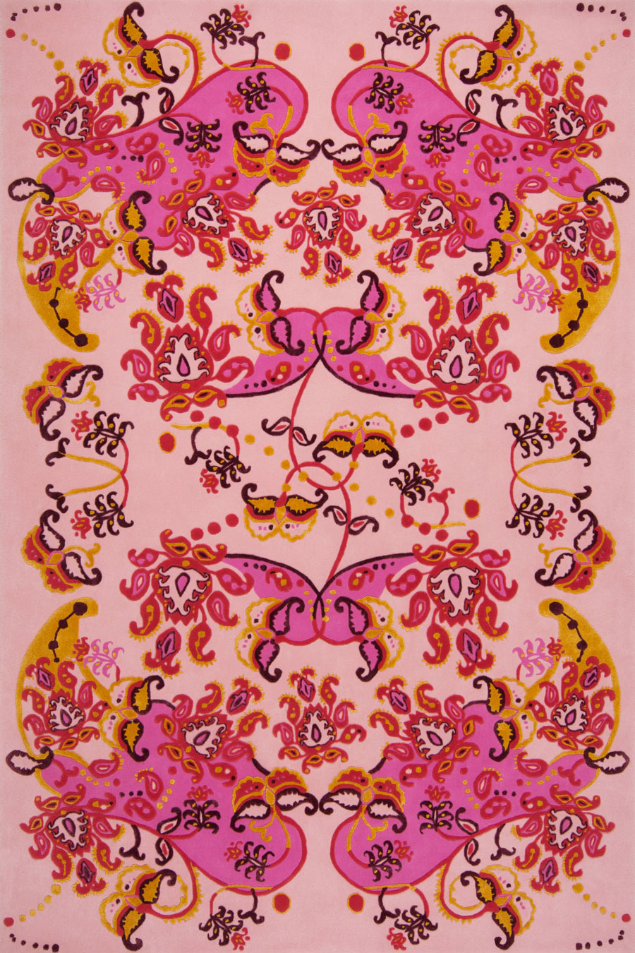 Overhead image of floral Paisley Dream rug by Romance Was Born in pink colour