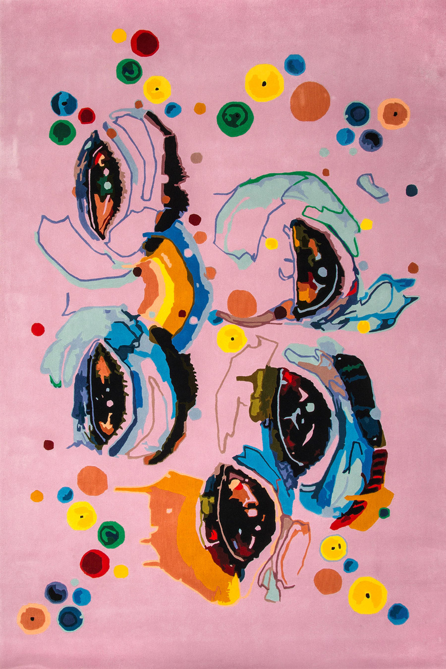 Overhead image of modern Pink Eye rug by Romance Was Born and Del Kathryn Barton