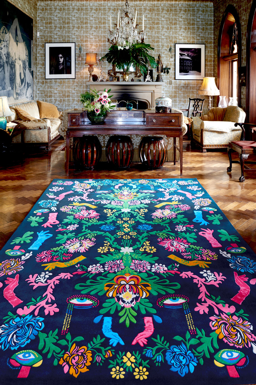 The Powder Room rug is a unique design inspired by 60s phsychadelia