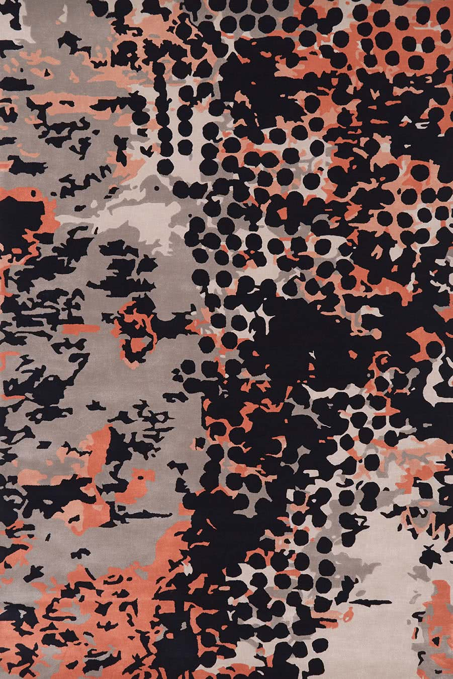 Detailed overhead view of modern, spotted Franco rug in Light grey, charcoal, pink and red.