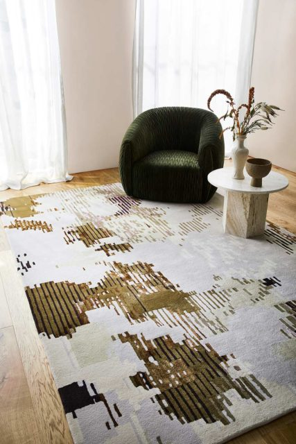 Living room view of modern Grace multicoloured rug in pink, light grey and green