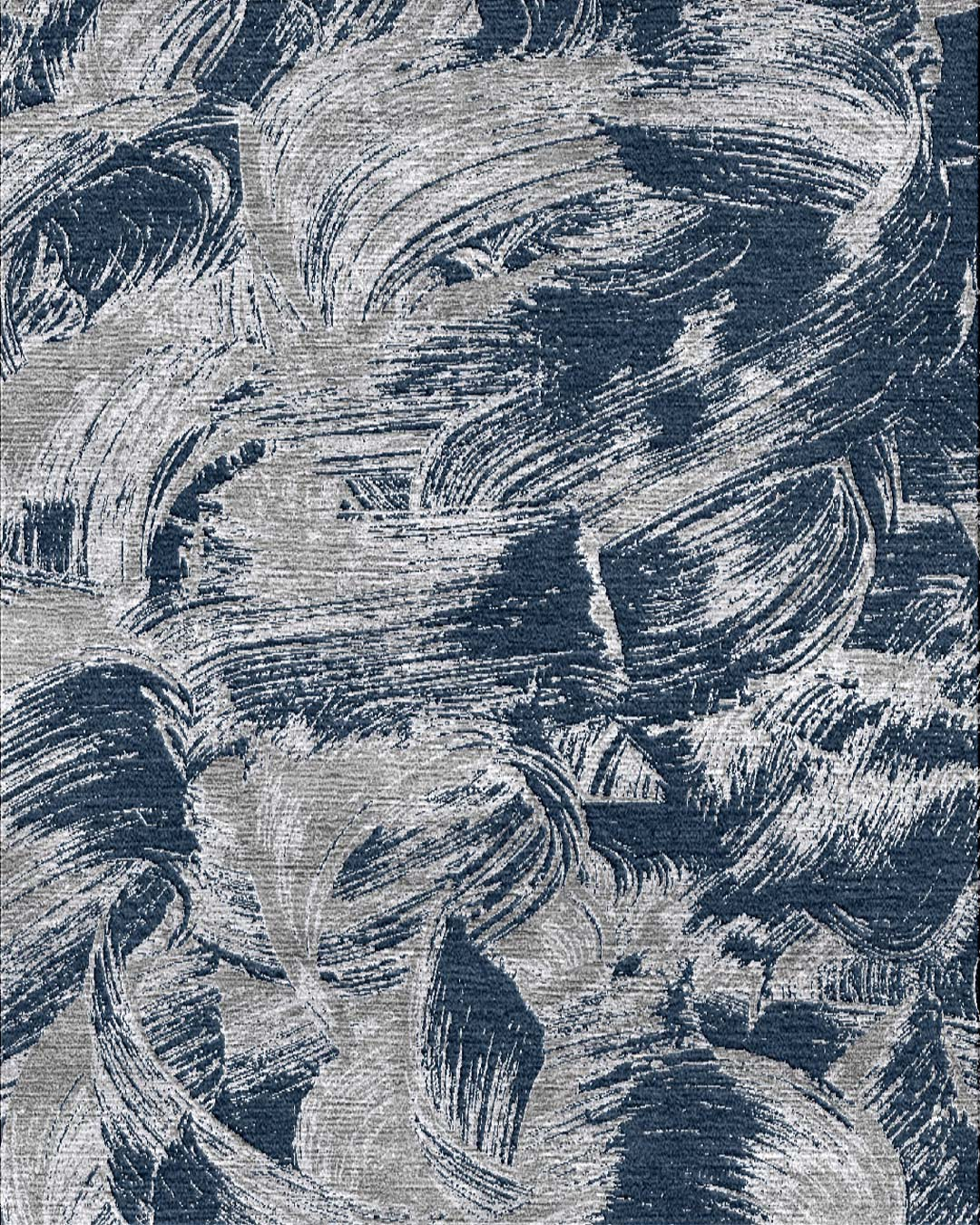 Overhead image of painterly Achilles rug in navy blue colour