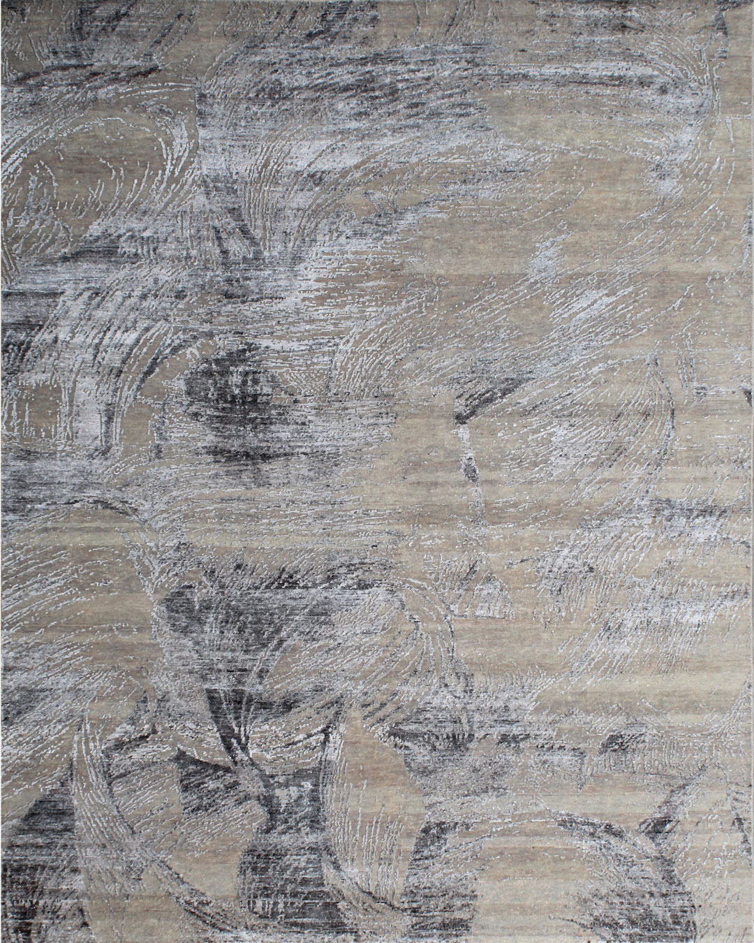 Overhead image of painterly Achilles rug in grey colour