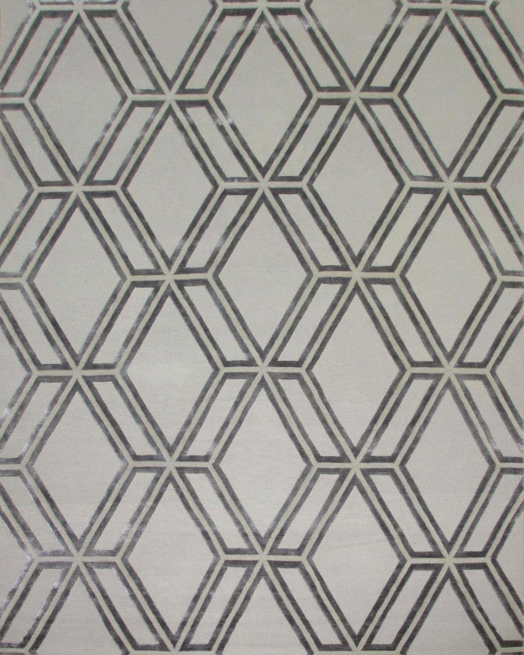 Overhead image of geometric Adesive rug in grey