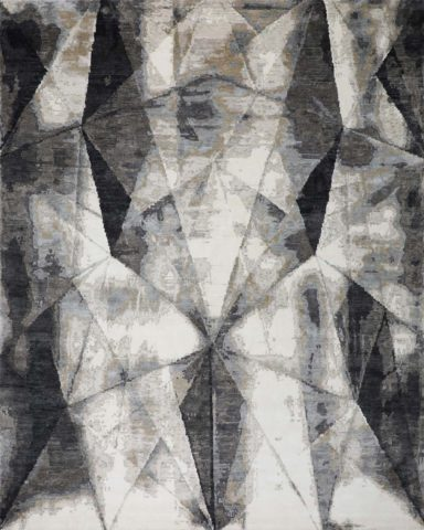 Overhead image of abstract Adonis rug in grey colour