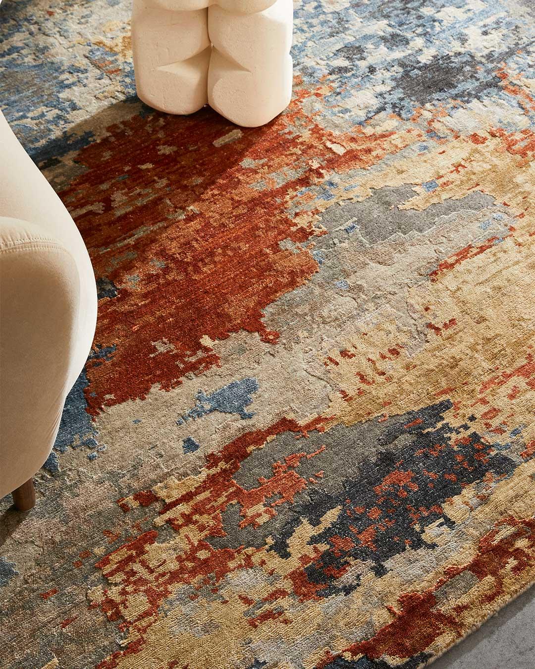 Close up image of multi coloured Agate rug