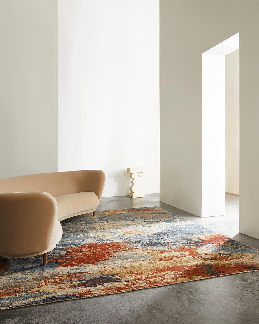 Living room image of multi coloured Agate rug
