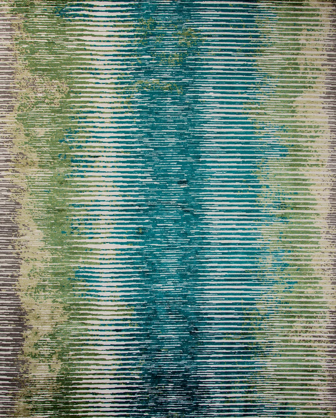 Overhead image of textural Alba rug in blue and green colour