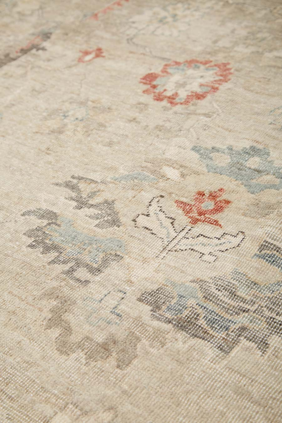 Close up image of traditional Andalusia rug in beige colour