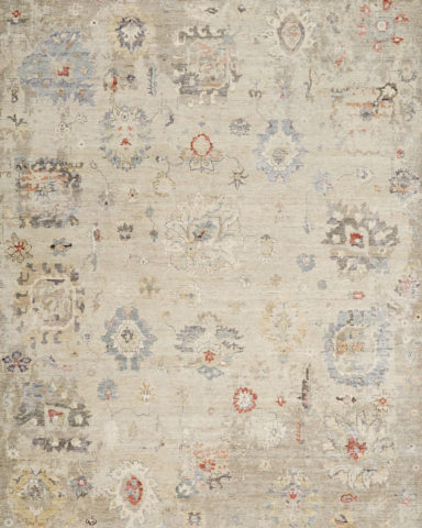 Overhead image of traditional Andalusia rug in beige colour