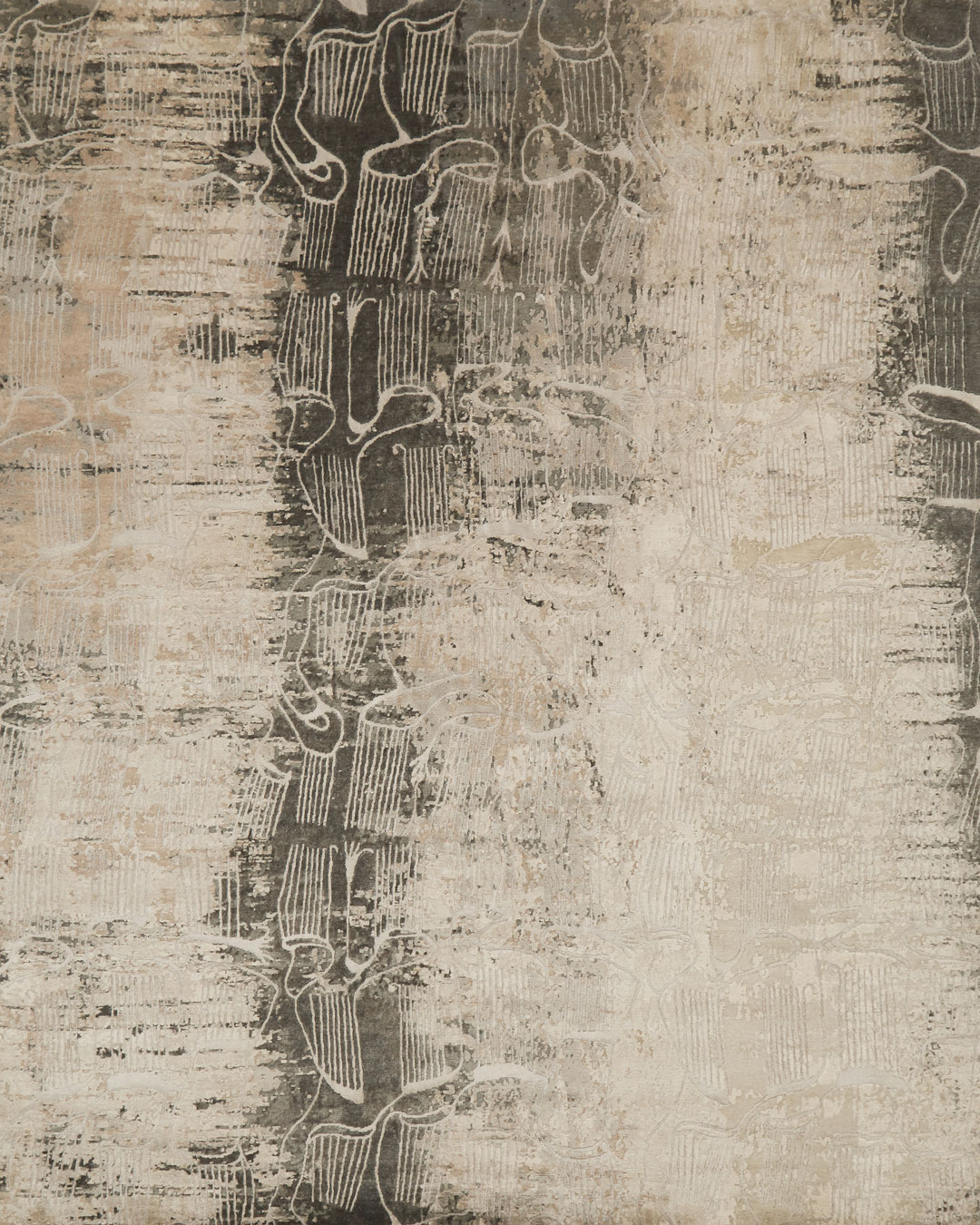 Overhead view of abstract Anubis rug in beige colour