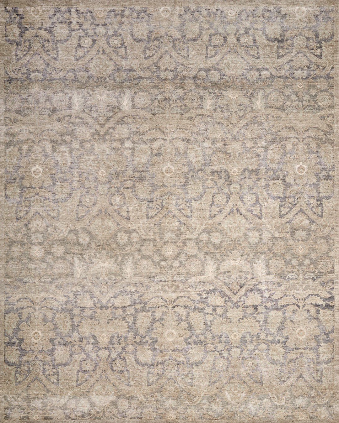 Overhead image of traditional Aphrodite rug in brown colour