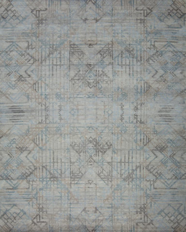 Overhead view of geometric Apollo rug in blue colour