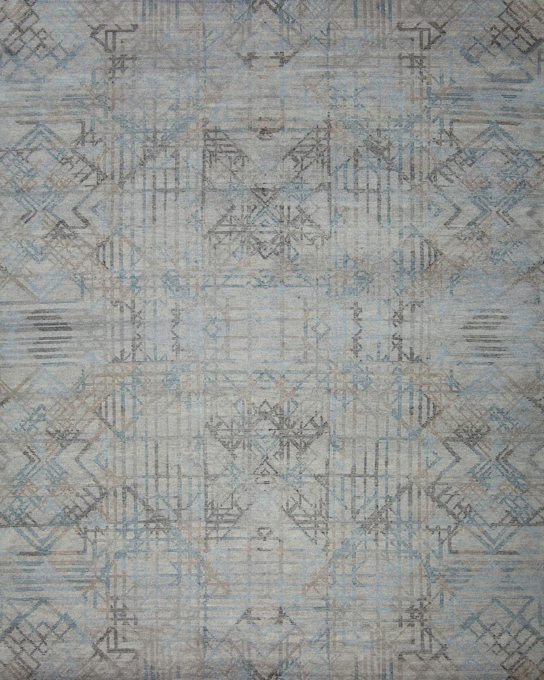 Overhead view of geometric Apollo rug in blue colour