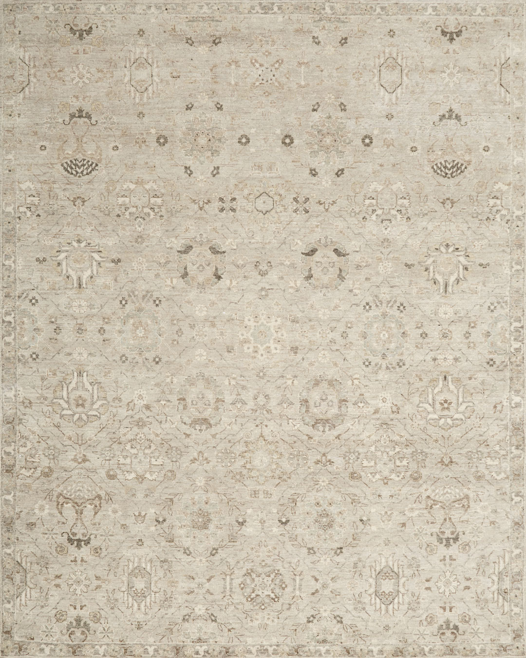Overhead view of traditional Aragon rug in beige colour